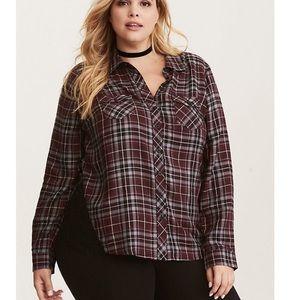 Torrid plaid lace inset camp shirt 2x